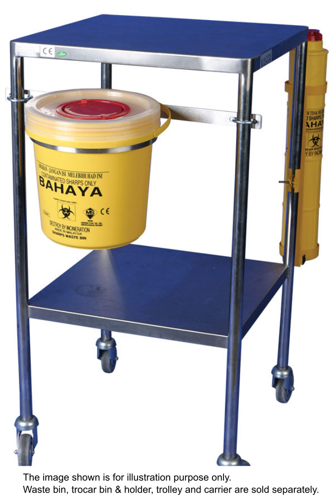 Medical apparatus supplies sdn bhd trolley mounted collapsible sharps waste bin carrier - Collapsible trash bins ...