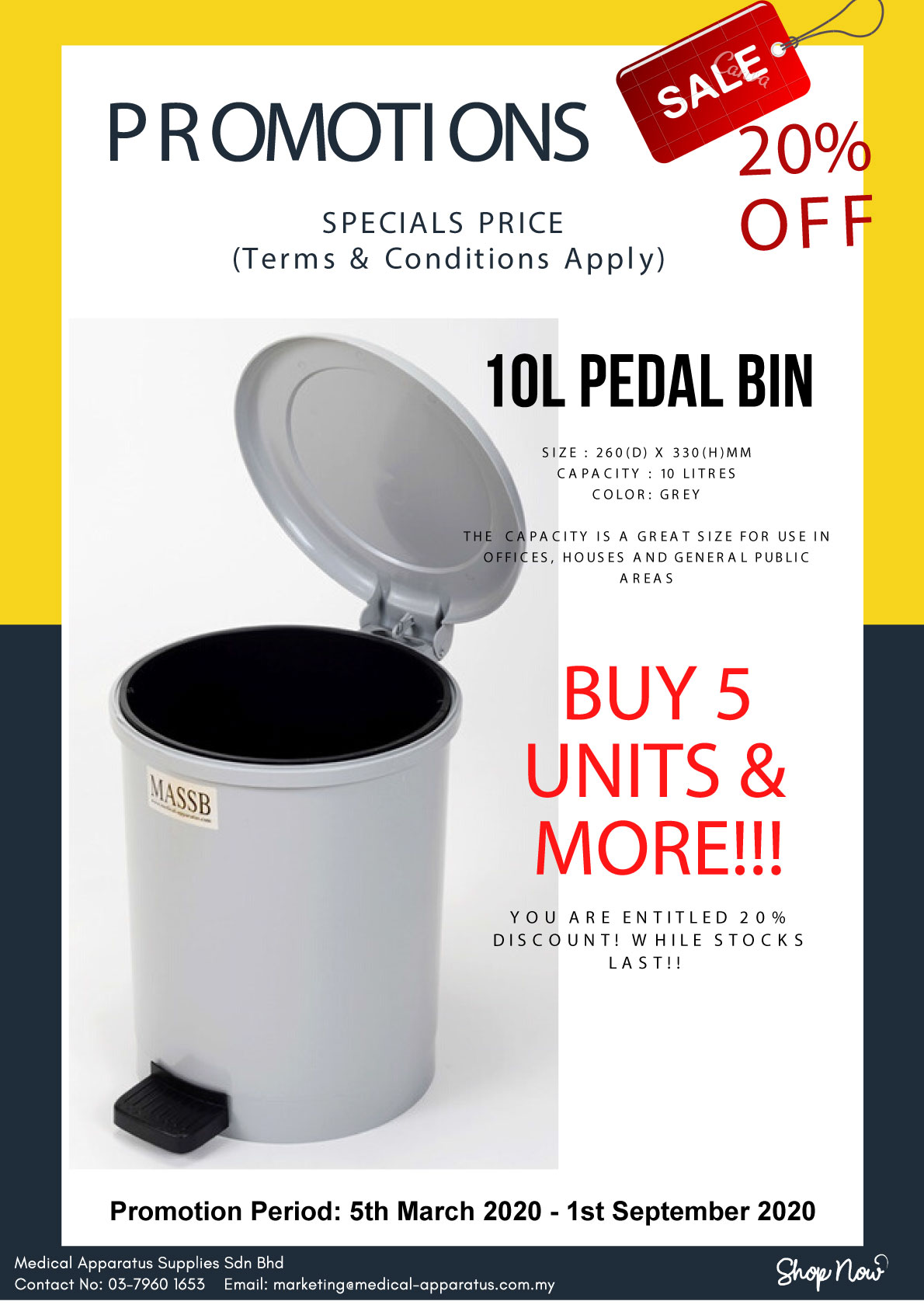 Medical Apparatus 2020 10L Pedal Bin Promotion